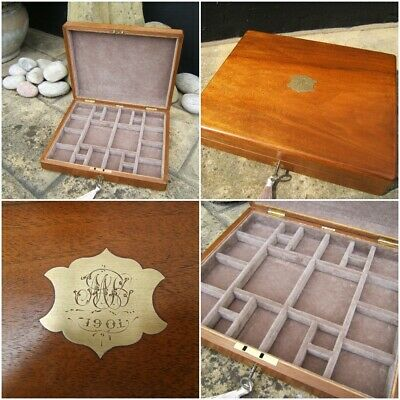 Wonderful 19C Victorian Dated 1901 Walnut Antique Jewellery Box - Fab Interior