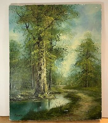 Signed 20th C Pastoral Summer Forest Creek Trees LANDSCAPE OIL PAINTING 16 x 20