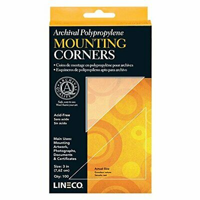Lineco Archival Polypropylene Mounting Corners, Standard View, 3 inch, 100 Pack
