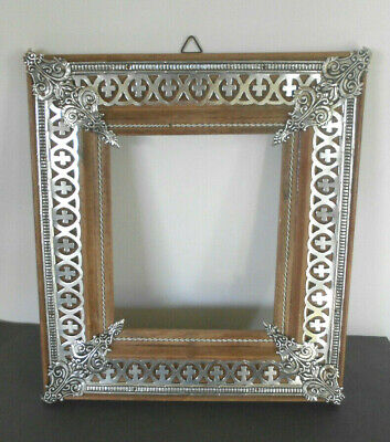 VTG Ornate Silver filigree overlay Wood picture FRAME 5x4 Pic area-hanging