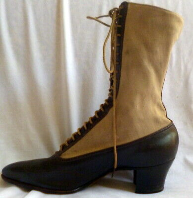 VINTAGE 1910s BROWN LEATHER LACE UP BOOTS Size 7 1/2  EDWARDIAN