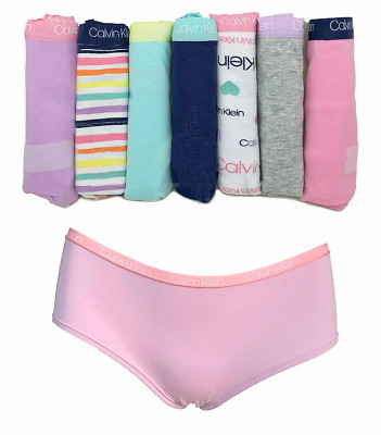 Calvin Klein Girls 7 Pack Hipster Underwear Panties Logo Waistband Cotton