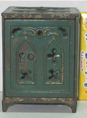 AUTHENTIC & OLD ORIGINAL CAST IRON TOY SAFE with CHURCH WINDOWS 1890's  CI467