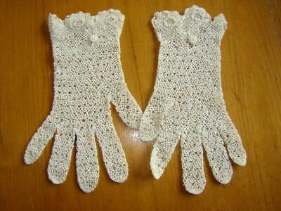 Charming Pair Antique IRISH CROCHET Lace Gloves, Never Worn, Perfect For Wedding