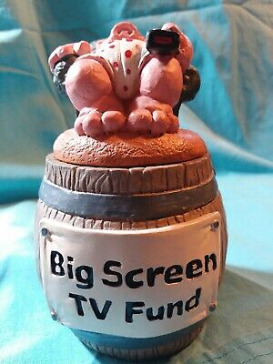 Big Screen T V Fund Savings Bank With Hog Pig In Chair With TV Remote Control