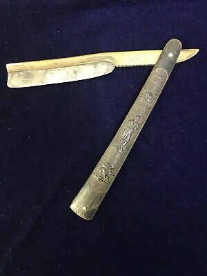 Rare Antique Brass Back Straight Razor Carved Hunting Scene  Fowling Dogs