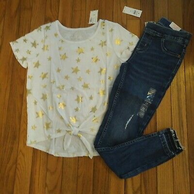 NWT Justice Girls Justice Outfit Foil Star Top/Destructed Jean Legging Size 12