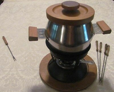 Stainless Steel & Wood Fondue Set w/ 4 Matching Forks +