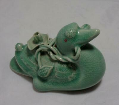 Asian Korean Suiteki Water Dropper Pottery Celadon Duck