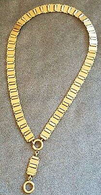"""Antique Victorian Gold Filled Book Chain Necklace Wide Thick 20"""" Original ornate"""