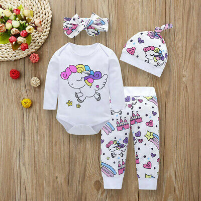 Infant Baby Boy Girl Cartoon Print Romper Tops+Pants+Hat+Headband Outfits Set US