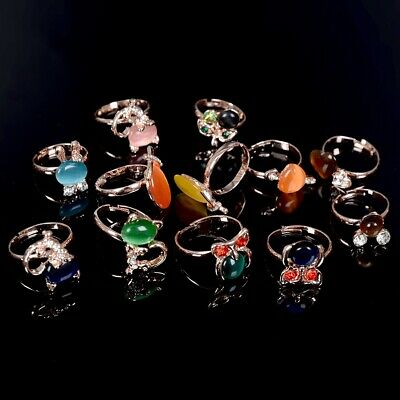80/100pcs Wholesale Mixed Lots Colorful Women Fashion Gemstone Rings Jewelry US