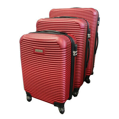 3-Piece Lightweight Hard-Shell Travel Luggage 4-Wheel Spinner Set RED COLOUR