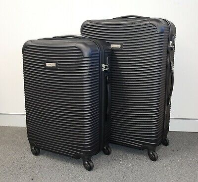 2-Piece Lightweight Hard-Shell Travel Luggage 4-Wheel Spinner Set BLACK COLOUR