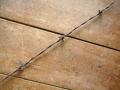 BURNELLS CROSS OVER 4-PT BARB on TWO SIZES of LINE WIRES  - ANTIQUE BARBED WIRE