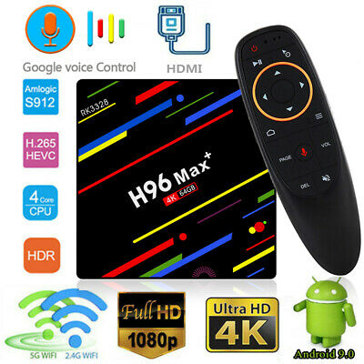 Voice Control H96 Max Plus TV Box 4GB+64GB RK3328 Dual WiFi 4K Android 9.0 AU