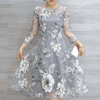 Women Mesh Floral Print Summer Wedding Party Ball Prom Gown Cocktail Maxi Dress
