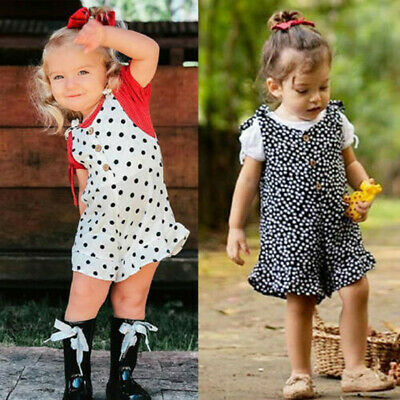Toddler Kids Baby Girls Clothes Sleeveless Polka Dots Rompers Jumpsuit Outfit UK