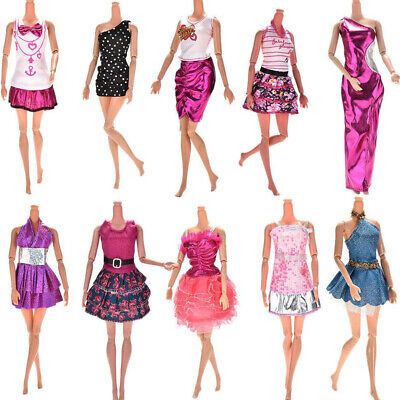 10Pcs Sweet Barbie Doll Girls Different Style Fashion Clothes Dress Party Decor!