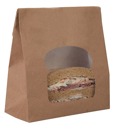 Colpac Kraft Paper Sandwich Bag with Window - Pack of 250