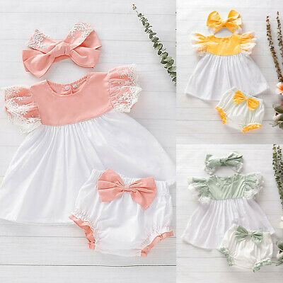 3PC Baby Newborn Girl Kids Lace Dress Tops+Bow PP Shorts+Headband Outfit Set Hot