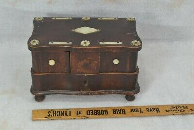 """box jewelry trinket sewing 1800s 7x4x4"""" unisex antique wood MOP  19th antique"""