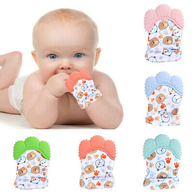 Neborn Baby Teething Mitt Teether Mitten Molar Gloves Kids Safe Chew Dummy Toy