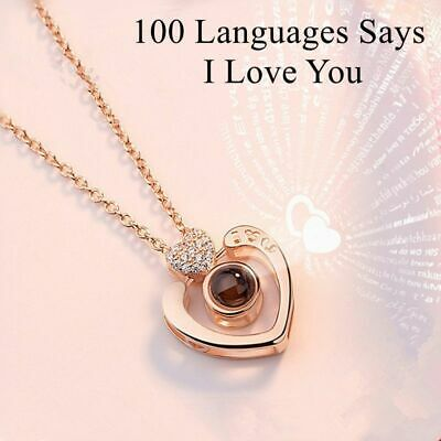 Gift For Girlfriend 100 Languages Says I Love You Projection Necklace Heart