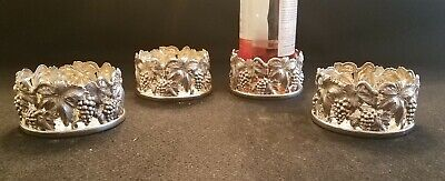 Set Of Four Topazio  Sterling Silver Wine Coasters