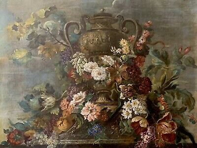 Huge 18Th Century French Old Master Oil Painting - Rococo Statue Floral Display