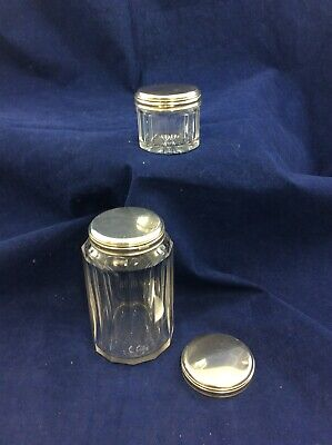 Antique Glass Jars with Sterling Silver Lids Vanity Table Items
