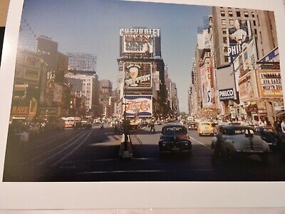 1949 Times Square New York Broadway Trans Lux Movie Theater 8x12 Photo Taxi Car