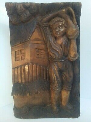 "Hand Carved Wood High Relief Art Panel House Boy with Jug 13.5""H  8.5""W 1.75""D"