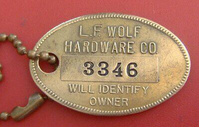 Vintage Charge Coin: WOLF HARDWARE STORE; Mt Clemens MI; Brass #'d Tag