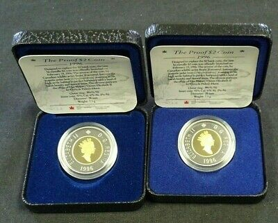 (2) 1996 Canada $2 Proof Polar Bear Bi-Metallic With Ogp    (7866)