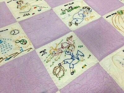 Vintage Unique Cute Hand Embroidered Nursery Rhyme Quilt  Excellent Condition