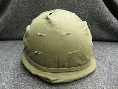Vietnam War Us Gi M1 Helmet W/ Paratrooper Style Liner & Early Cloth Camo Cover