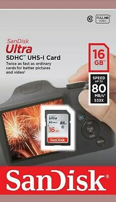 New SanDisk Ultra SDHC SD Card Class 10 16GB 80mb/s Memory Card - For Camera