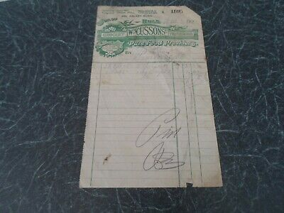 Vintage Invoice WM CUSSONS Grocery Provisions, 443 Anlaby Rd Hull 1922  §JW72