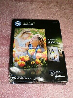 """HP Everyday GLOSSY PHOTO PAPER 60 Sheets 5"""" x 7"""" 53 lb for ALL INKJET PRINTERS"""