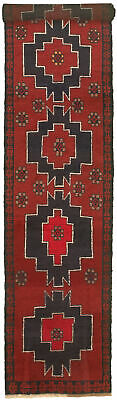 """Hand-knotted Carpet 2'4"""" x 13'0"""" Traditional Vintage Wool Rug"""