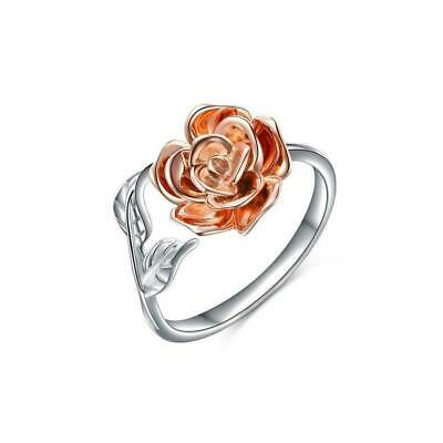 Rose Flower Ring For Women S925 Sterling Silver Adjustable Wrap-Open-Ring-P F1X8