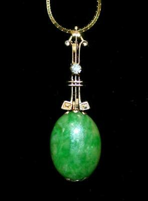 Fine Chinese Jadeite Pendant & 14K Gold Necklace And Diamond