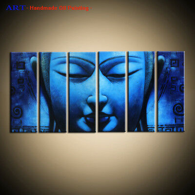 Large Framed Wall Art 6 Panel Modern Blue Buddha Abstract Oil Painting on Canvas
