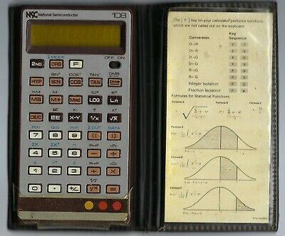 NSC National Semiconductor Model 108 Vintage Electronic Calculator Cover & Card