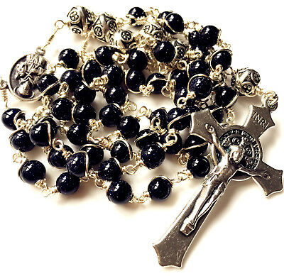 Bali 925 Sterling Silver Beads bule JADE Catholic 5 DECADE Rosary Necklace Cross