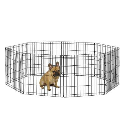 """24"""" Pet Dog Cat Tall Wire Fence Folding Exercise Yard Play Pen 8 Panel"""