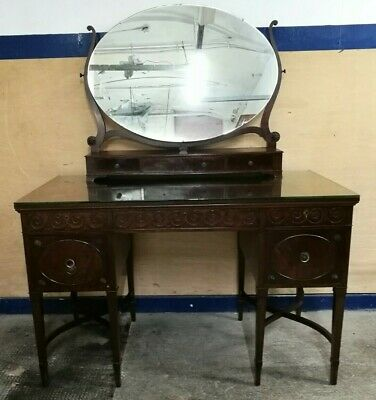 Stunning ~Antique ~Dressing Table ~Twin Pedestal ~Oval Mirror ~Drawers ~Desk? ~