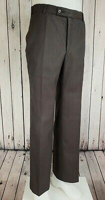 Vintage 1970s Brown StripePoly Wool Straight Leg Trousers Mod Psych W32 L30 JZ89