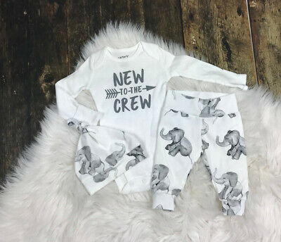 Newborn Baby Girl Boy Tops Romper Elephant Pants Hat Outfits Clothes Tracksuit